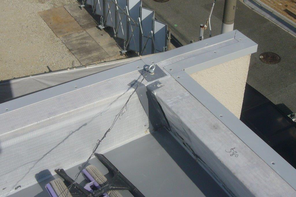 出隅 鋼板 塩ビシート 機械的固定工法 絶縁工法