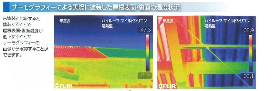 ハイルーフマイルドシリコン遮熱塗料のサーモグラフィ