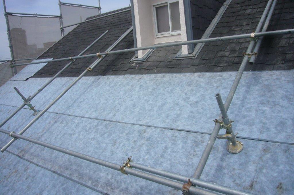 ルーフィング貼り 屋根葺き替え カバー工法