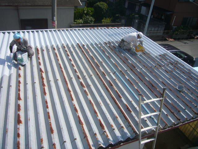 折板屋根錆止め塗装