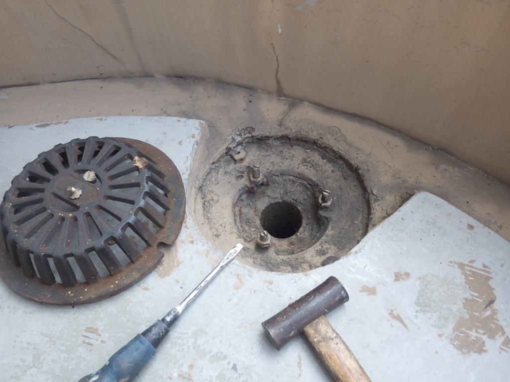 排水目皿の取り外し