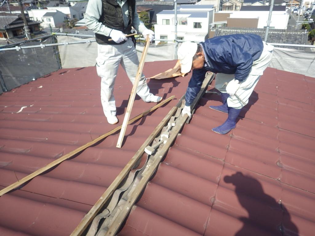 棟から屋根を解体