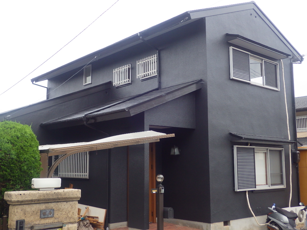 ブラックでペイントした家