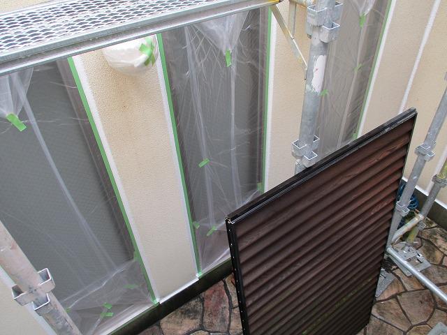 中庭 養生作業 外壁塗装工事
