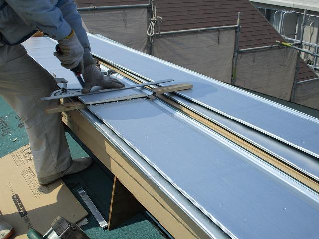 屋根葺き替え ガルバリウム鋼板 サイズ調整
