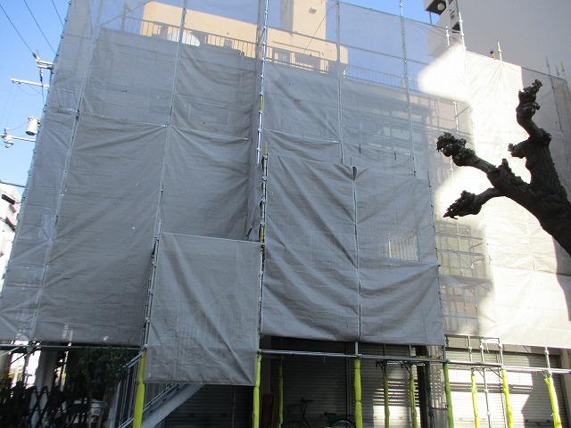 淀川区 外壁塗装 足場架設