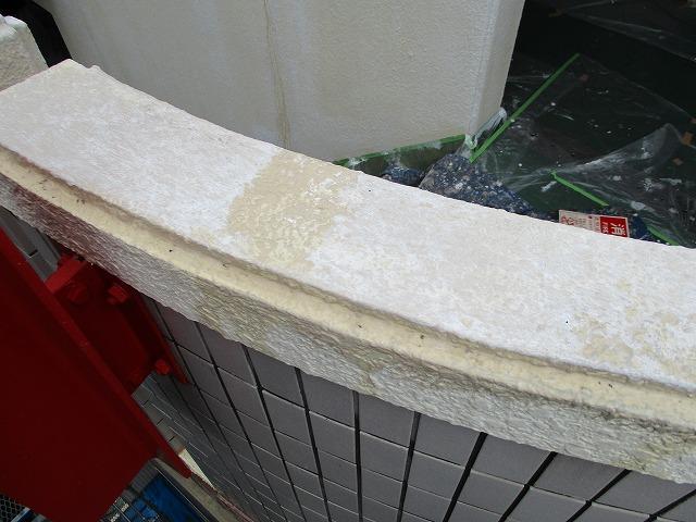 階段腰壁 下塗り 雨で流れる