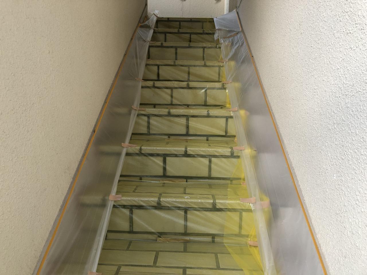 養生 外壁塗装 階段