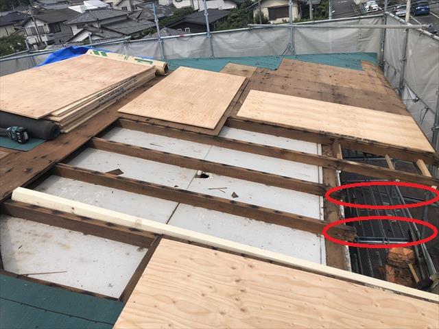 屋根葺き替え工事 垂木補強 下地補強