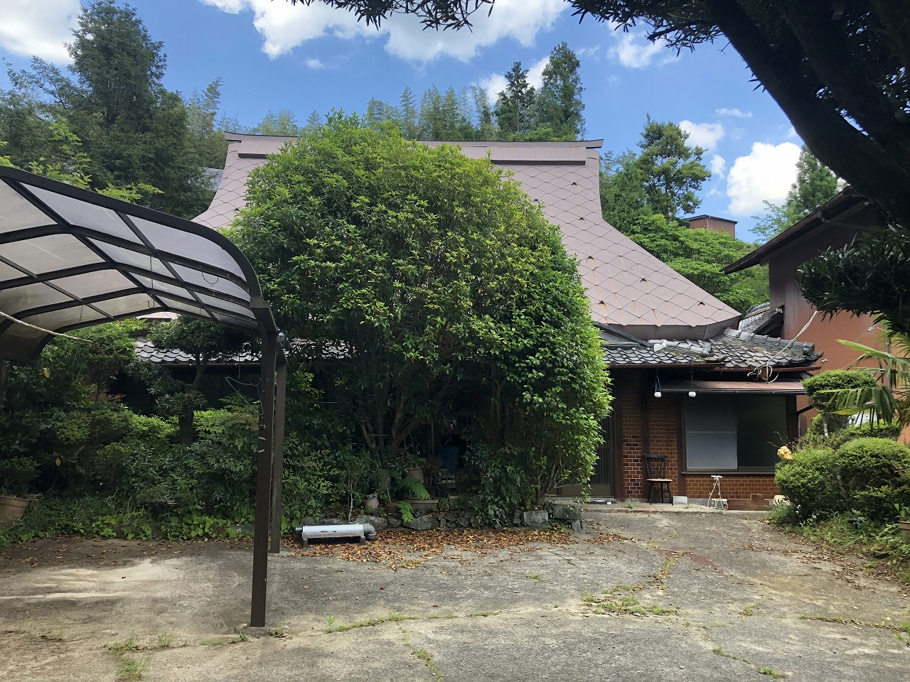 元茅葺屋根 屋根塗装 屋根塗替え トタン屋根塗装 急勾配屋根