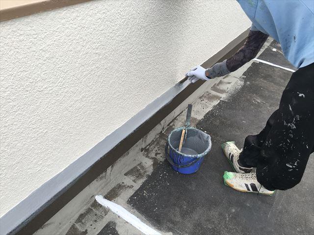 水性塗膜防水材塗布