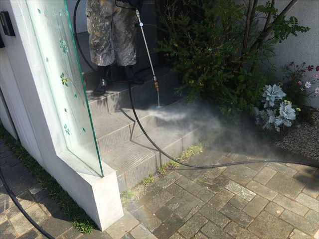 土間タイル 高圧洗浄