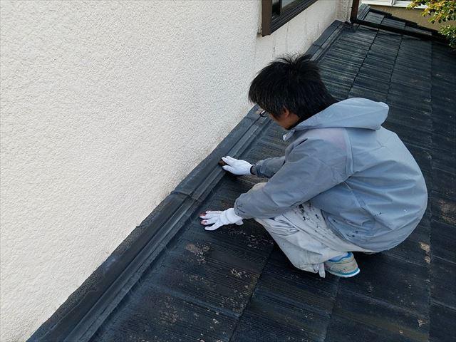 屋根板金 ケレン清掃作業