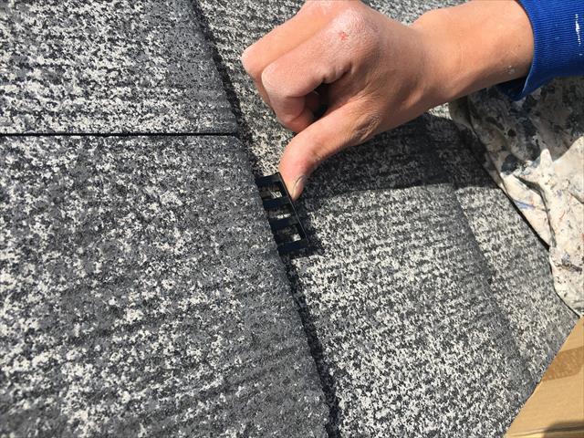 カラーベスト屋根塗装 タスペーサー取付