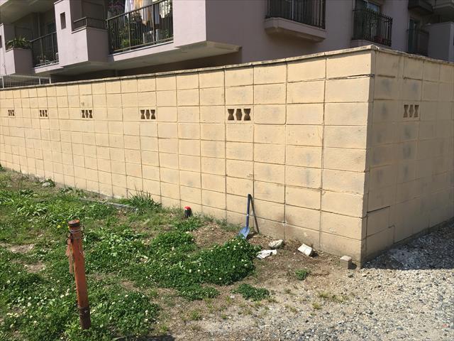 マンション外構周り ブロック塀