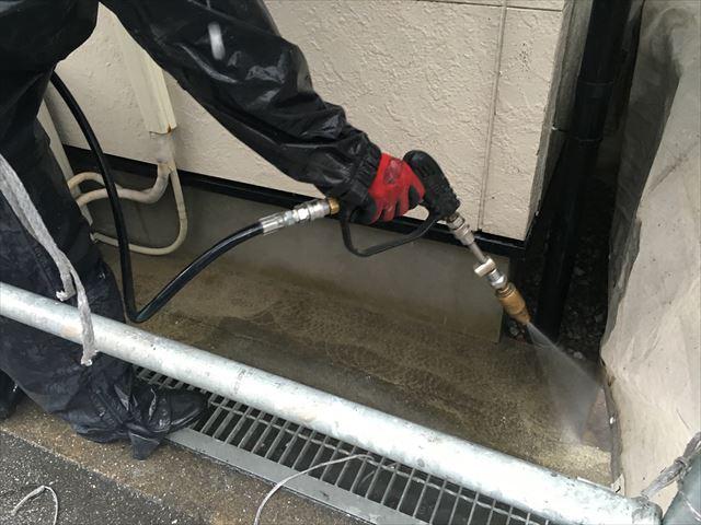 玄関土間 高圧洗浄