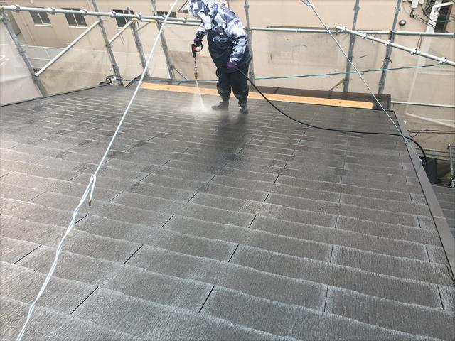 カラーベスト屋根 高圧洗浄