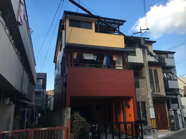 大阪市淀川区 外壁塗装工事完成