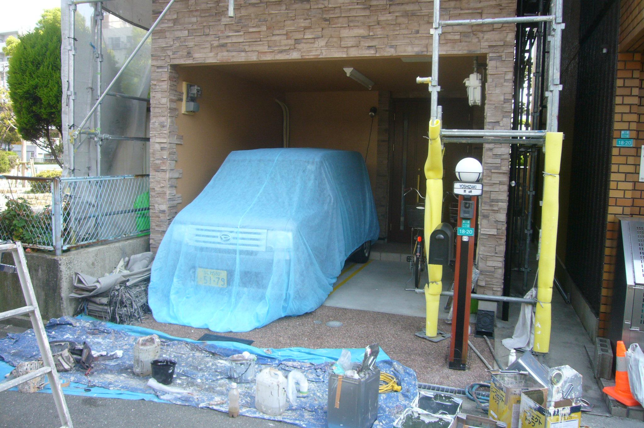 車庫内塗装完了