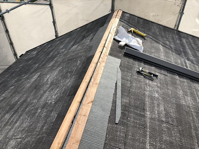 屋根 棟 貫板